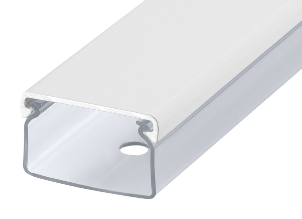 Transparenter Kabelkanal weissmatt eloxiert Länge:20cm