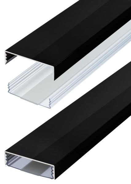 Flacher Design Aluminium Kabelkanal in Schwarz Hochglanz - Selbstklebend - Länge: 20cm