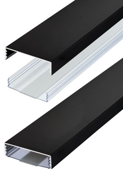 Flacher Design Aluminium Kabelkanal in Schwarz Stumpfmatt - Selbstklebend - Länge: 50cm
