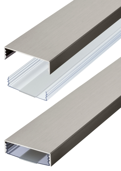 Flacher Design Aluminium Kabelkanal in Edelstahl gebürstet Optik - Selbstklebend - Länge: 20cm