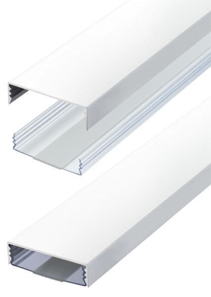 Flacher Design Aluminium Kabelkanal in Weiss Matt RAL9003 - Selbstklebend - Länge: 250cm