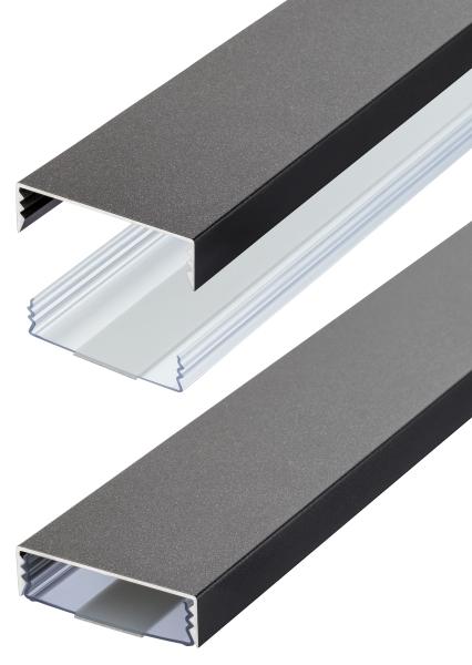 Flacher Design Aluminium Kabelkanal in Titanium Anthrazit Seidenmatt - Selbstklebend - Länge: 30cm