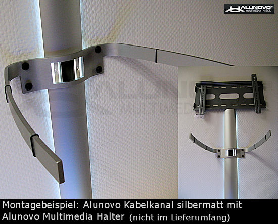 alu tv kabelkanal in silber l nge 20cm als schickes tv zubeh r f r fernseher design kabelschacht. Black Bedroom Furniture Sets. Home Design Ideas