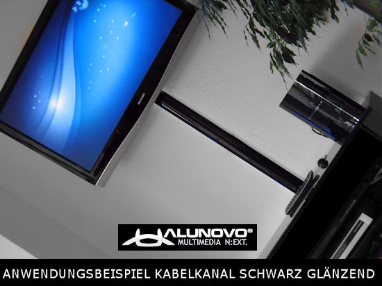 tv aluminium kabelkanal klavierlack style l nge 20cm schwarz hochglanz kabelkanal f r tv. Black Bedroom Furniture Sets. Home Design Ideas