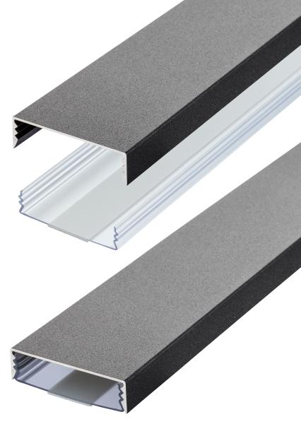 Flacher Design Aluminium Kabelkanal in Gusseisen Feinstruktur - Selbstklebend - Länge: 20cm