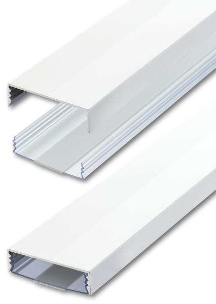 Flacher Design Aluminium Kabelkanal in Weiss Hochglanz RAL9003 - Selbstkleb. - Länge: 30cm