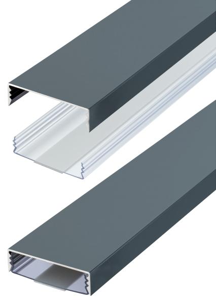 Flacher Design Aluminium Kabelkanal in Anthrazit RAL7016 Seidenmatt - Selbstklebend - Länge: 30cm