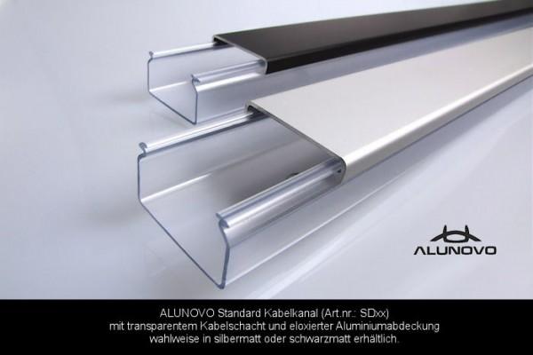 Transparenter Kabelkanal silbermatt eloxiert Länge:40cm