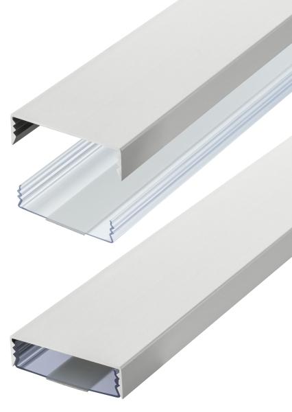 Flacher Design Aluminium Kabelkanal in Silbermatt eloxiert - Selbstklebend - Länge: 50cm
